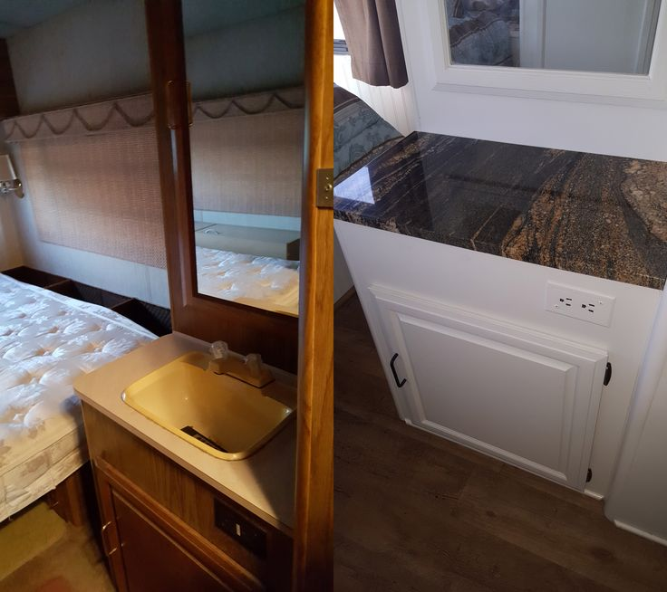 1990 Bounder 27' Remodel.  Before and after of hallway sink area.  Sherwin Williams Pro-Classic Paint, lavatory sink removed and granite installed.