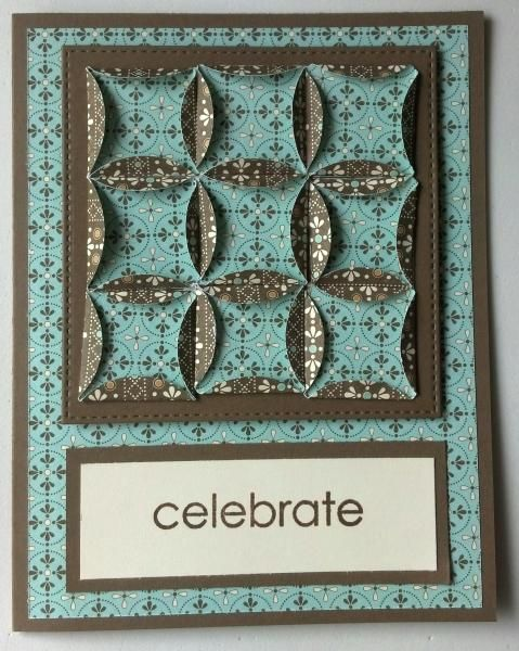 handcrafted quilt card ...  Cathedral Window Patchwork ... pretty two sided tiny print paper ... luv the mat die cut with stitching embossed borders ...