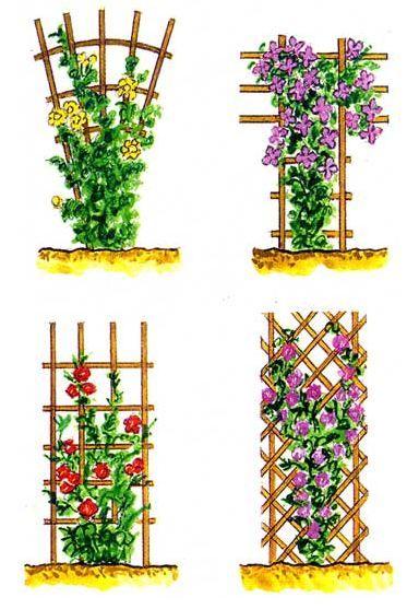 опоры-решетки из деревянных планок