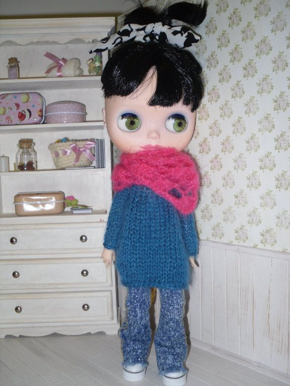 Long angora sweater for Blythe by LittleGiftCove on Etsy