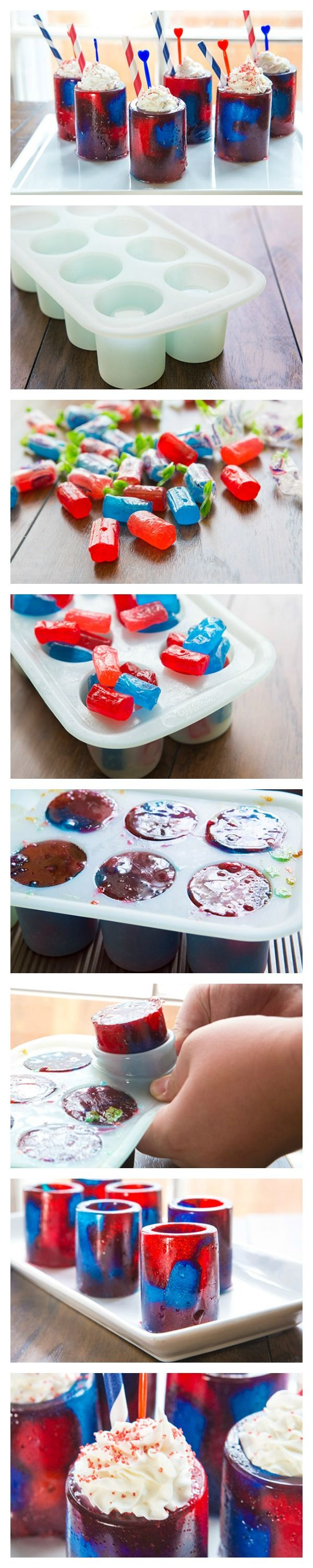 An adorable idea got us all inspired to go red, white and blue and make ourselves some patriotic shot glasses.