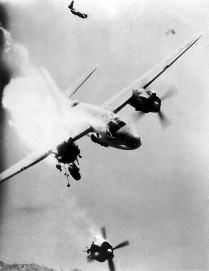 "https://flic.kr/p/eTE83f | Damaged bomber B-26 ""Marauder"" loses engine | Source: albumwar2.com"