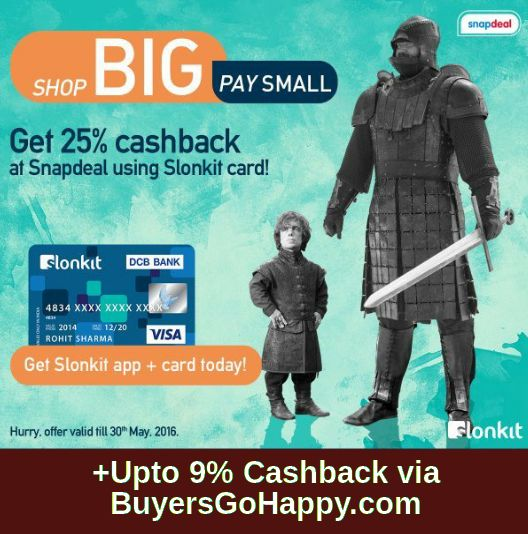 Get 25% cashback at #Snapdeal using Slonkit card! +Upto 9% Cashback via #BuyersGoHappy.com https://goo.gl/x7BcuZ