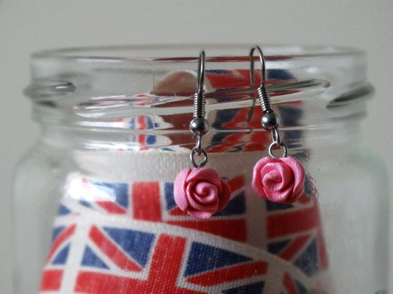 By the Shed Pink Rose Drop Dangle Earrings  Flowers