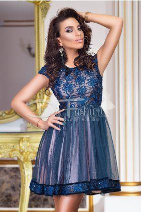 Rochie de Seara Bleumarin cu Paiete Brilliant Dark Blue