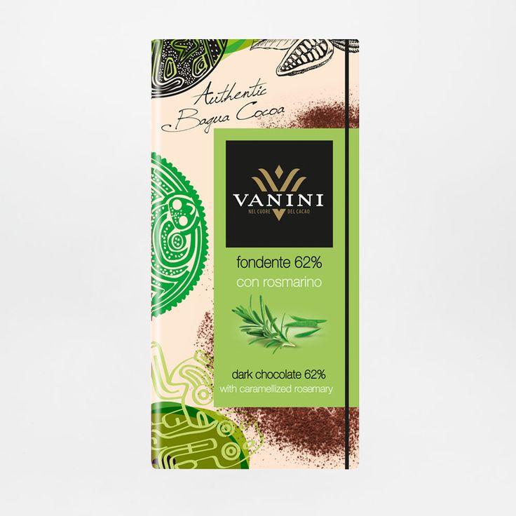 Cioccolato fondente 62% al rosmarino di Vanini. Vendita online di cioccolato pregiato senza glutine.