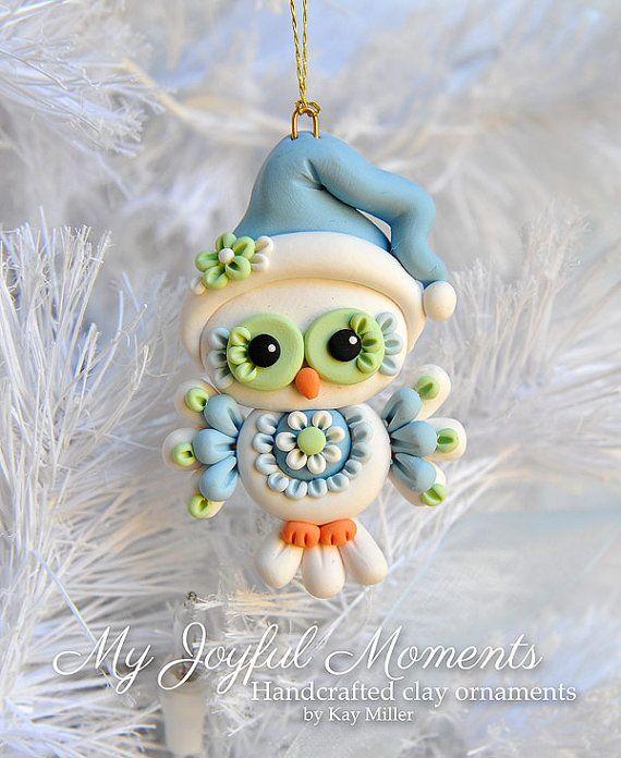 Handcrafted Polymer Clay Owl Ornament par MyJoyfulMoments sur Etsy