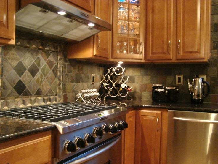 Attractive Picture Of Kitchen Decoration With Various Kitchen Counter Top Design And Ideas: Excellent Small L Shape Kitchen Decoration Using Grey Limestone Kitchen Backsplash Including Solid Oak Wood Kitchen Cabinet And Dark Grey Granite Kitchen Counter Top ~ fendhome.com Kitchen Inspiration