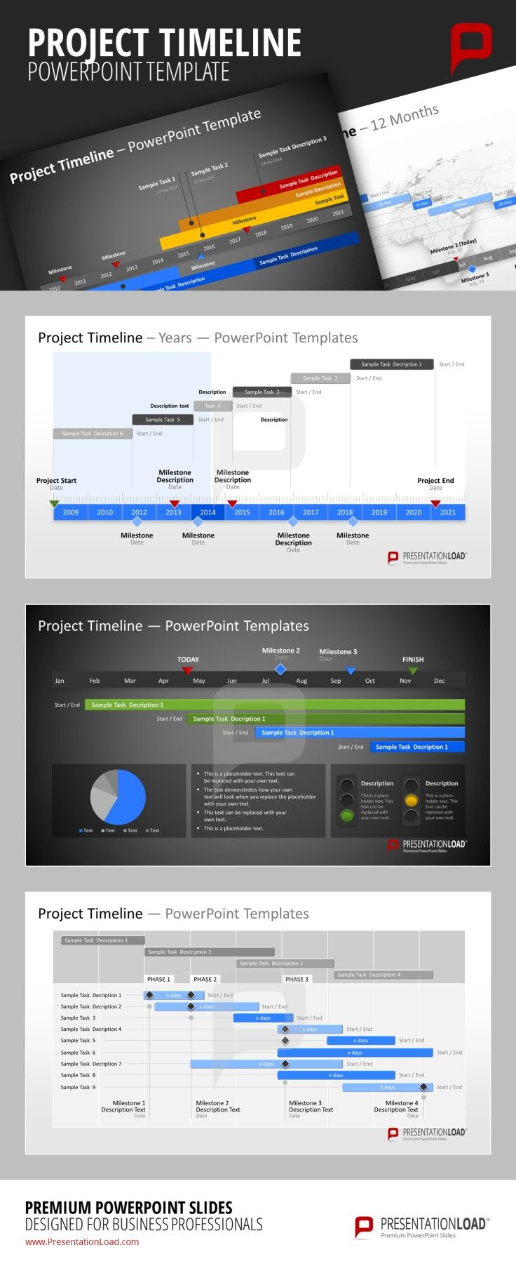 Project Timeline PPT Example Template Project Timeslines PowerPoint Template Use different styles for specific elements of your timeline to make it easier for your audience to distinguish between them. #presentationload http://www.presentationload.com/project-timelines.html