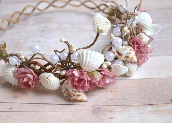 Meerjungfrau-Krone, Braut Kopf Stück, Rosebud Stirnband, Hochzeit Haarreif, Hochzeit Zubehör