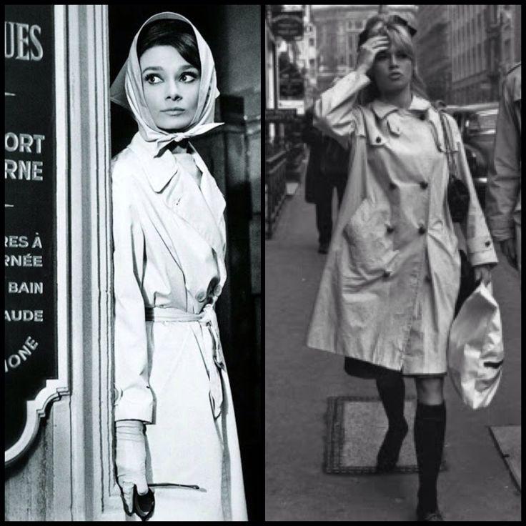 A short history of the trench coat at fashionvoyeurism.com - Audrey Hepburn and Brigitte Bardot
