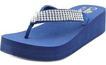 Callisto St. Barth Women Open Toe Synthetic Blue Wedge Sandal.