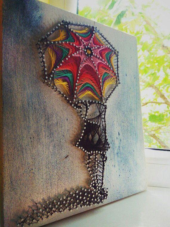 String Art/ Wall art/Handmade decoration/Home Decor 3D art/ romantic decor/ rainbow umbrela/living the present moment