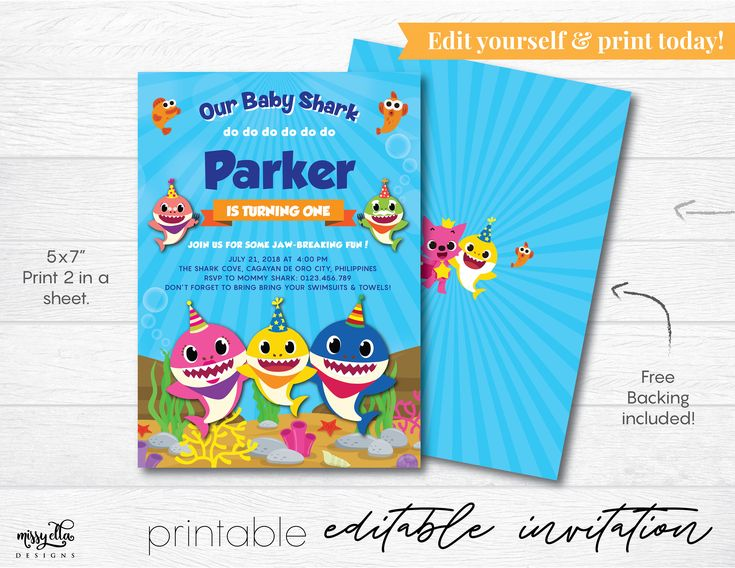 Baby Shark Invitation Editable Pdf Digital Invitation
