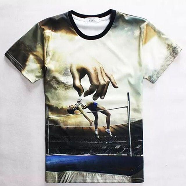 2015 New Summer Fashion style populaire hommes 3D imprimé t shirt sport saut en hauteur à manches courtes t - shirt jeune mince coton étoiles top tee