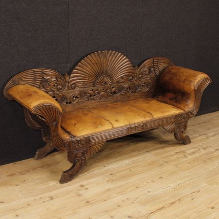 2500€ french sofa in carved wood and covered in leather visit our website www parino it antiques antiquariato furniture antiquities antiquario chair