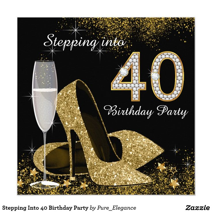 Stepping Into 40 Birthday Party 5.25x5.25 Square Paper Invitation Card