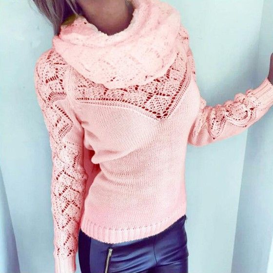 Pink Plain 2-in-1 Hollow-out Long Sleeve Pullover Sweater