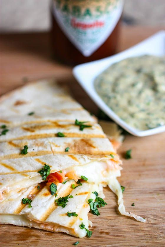 smoked salmon quesadillas with creamy chipotle cilantro sauce