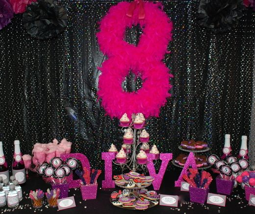 great idea for a backdrop, diy very inexpensive, cardboard cutout number you want then glue boas around it.