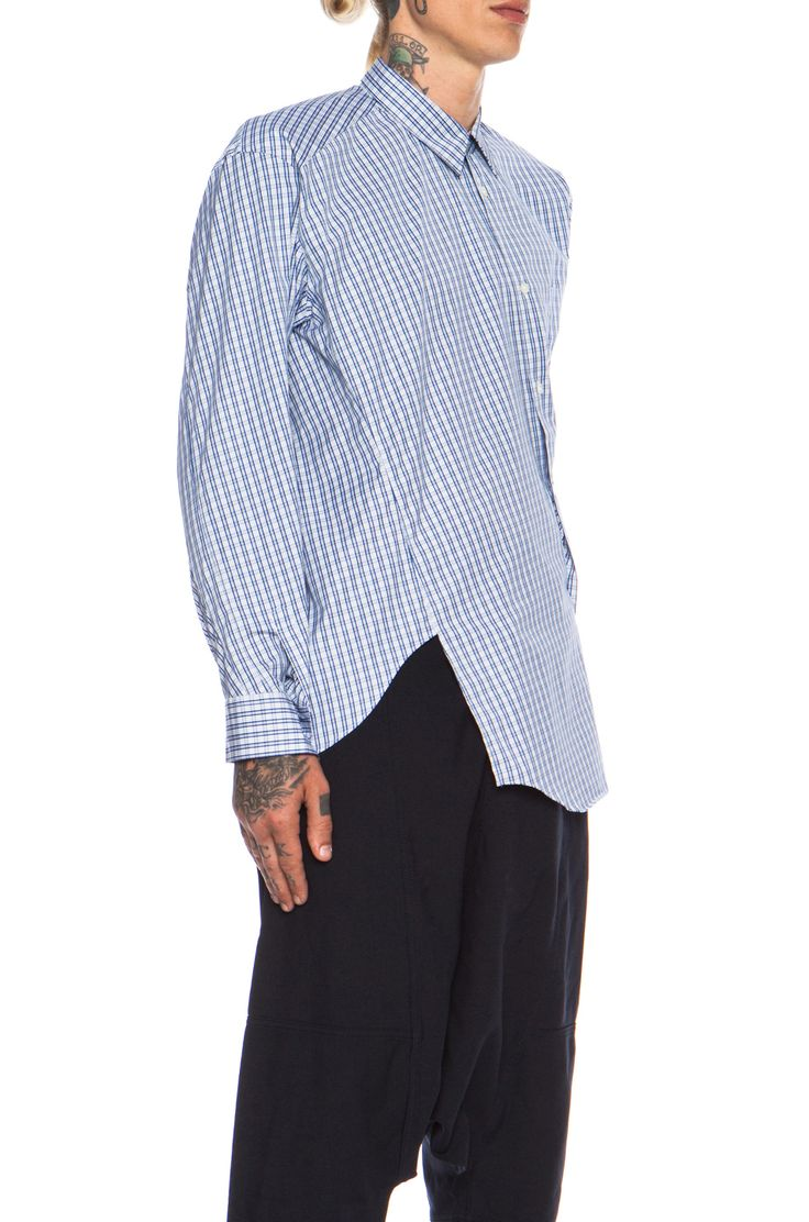 Comme Des Garcons SHIRT Asymmetric Cotton Button Down in Blue Check | FWRD