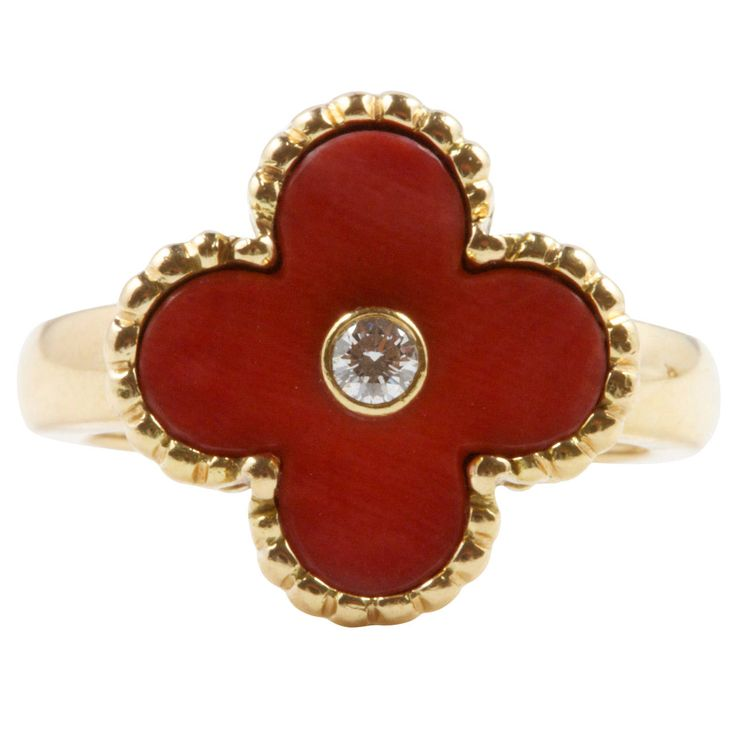 Van Cleef & Arpels Coral Diamond Gold Ring | From a unique collection of vintage more rings at https://www.1stdibs.com/jewelry/rings/more-rings/