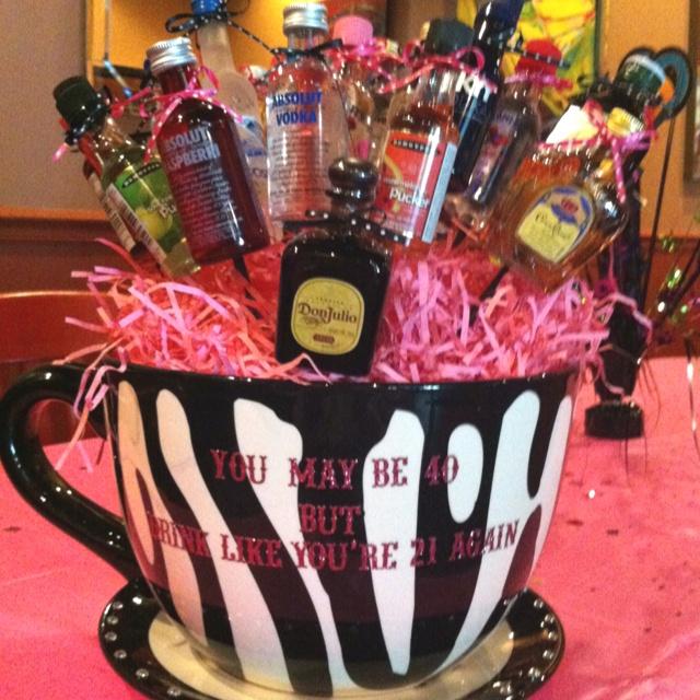 40th Birthday Drink Up Basket Shots Liquor Gift
