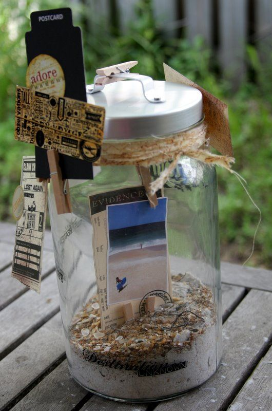 Beach Memory Jar Obviously make it your own and weddingy!