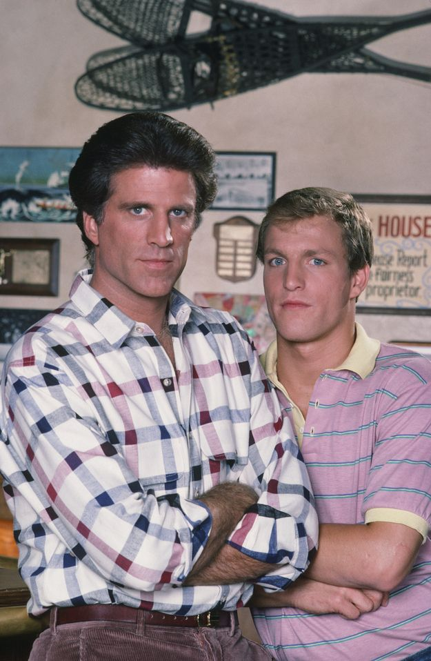 "Ted Danson  Woody Harrelson on the set of ""Cheers"""