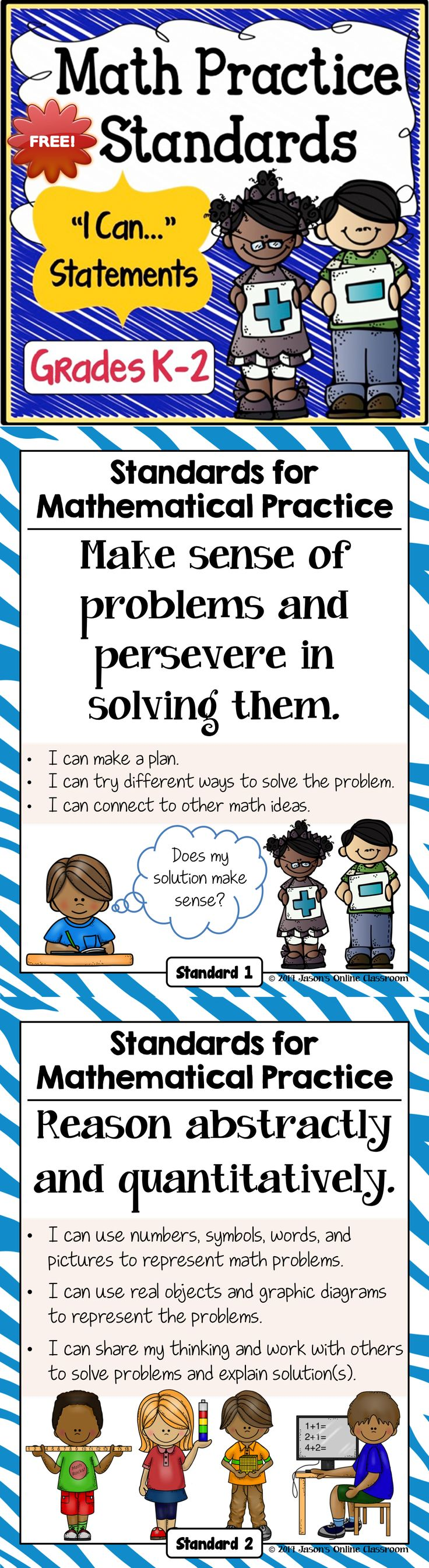 FREEBIE - Math Practice Standards for Grades K-2