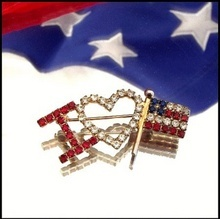 American Flag Pin I Love USA 1960s Patriotic Vintage Jewelry