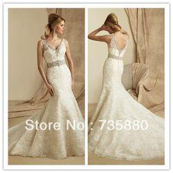 Online Shop Sexy White/Ivory V Neck Mermaid Wedding Dress Custom Size 2-4-6-8-10-12-14-16+|Aliexpress Mobile
