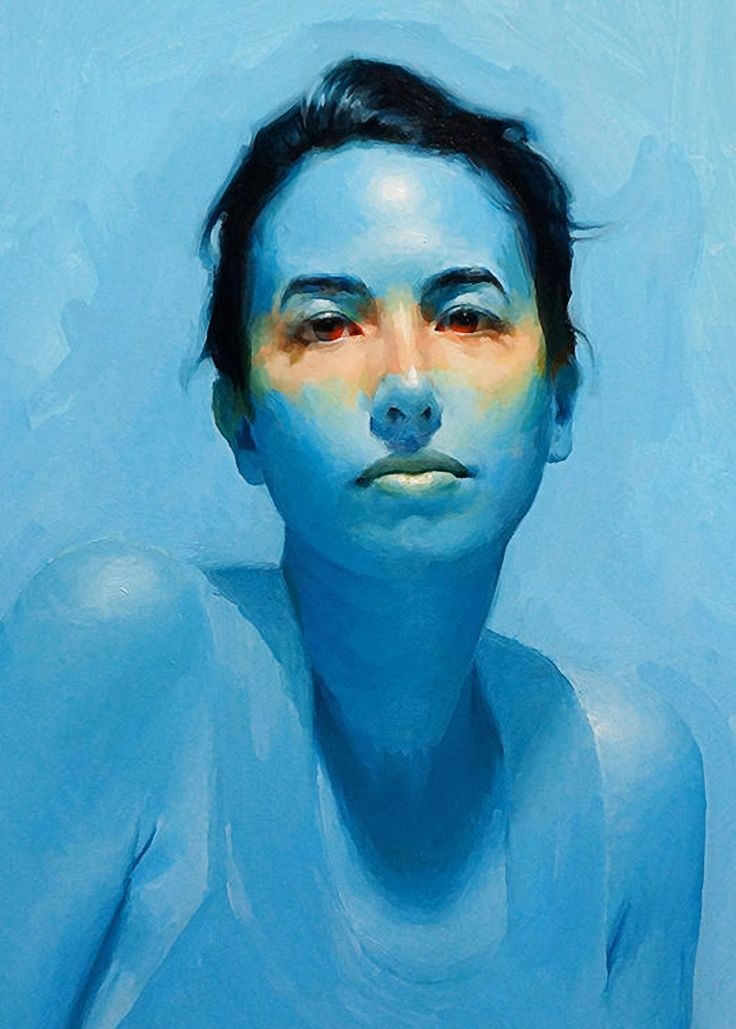 """""""Heat"""" - David Cheifetz, oil on linen {contemporary #expressionist artist female head blue woman face portrait cropped painting #loveart} turningshadow.deviantart.com"""