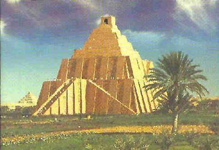 Map of Babylon with Ziggurat   nor hanging gardens seven ...
