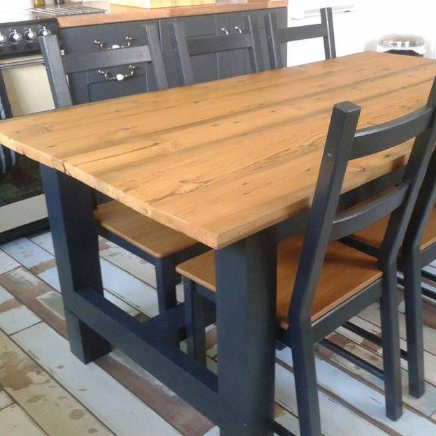 Reclaimed Pine Table   This table was made using reclaimed pine, which was finished with a clear hard wax oil. The client then painted the legs black to match in with the rest of their kitchen.
