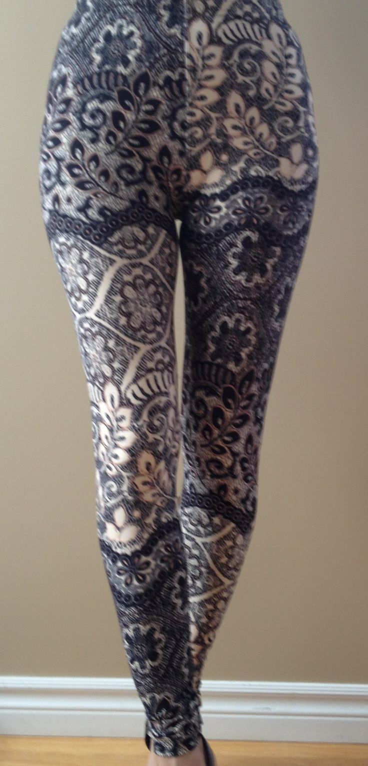 """""""Peach Pallor"""".....soft, pretty peach & black lacy patterned leggings. """"One Size"""" fits most 2-12; 5-6' tall"""