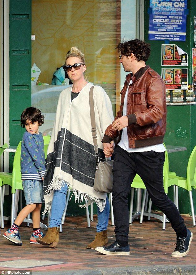 Happy families: The 40-year-old actress, her husband and his five-year-old son…