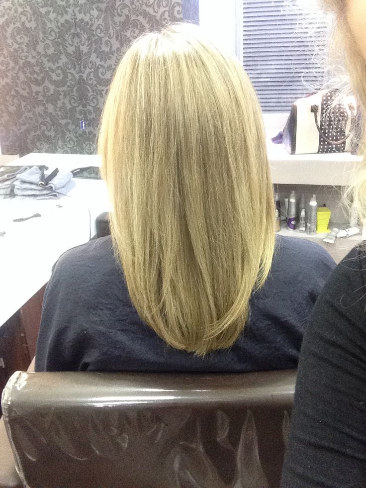 One length haircut with square layers