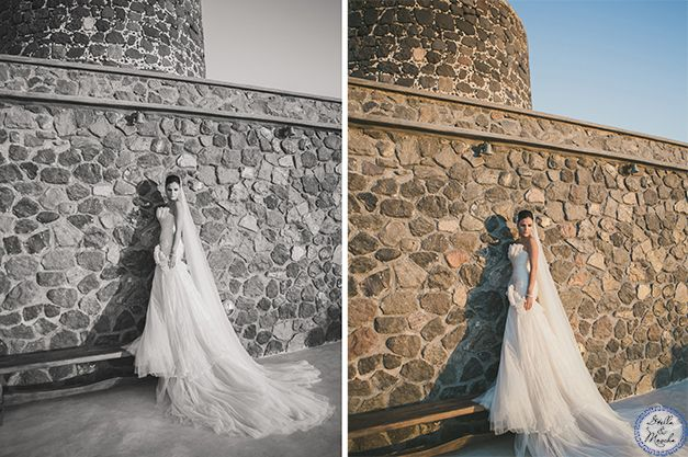Bridal Gown | Santorini Wedding by Stella and Moscha - Exclusive Greek Island Weddings | Photo by Anna Roussos | http://www.stellaandmoscha.com/wedding-photos/private-villa-wedding/ Wedding in Greece