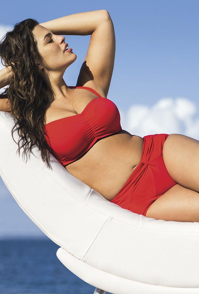 Swim Sexy Red Bandeau/Halter Twist Front Bikini From The Plus Size Fashion Community At www.VintageAndCurvy.com