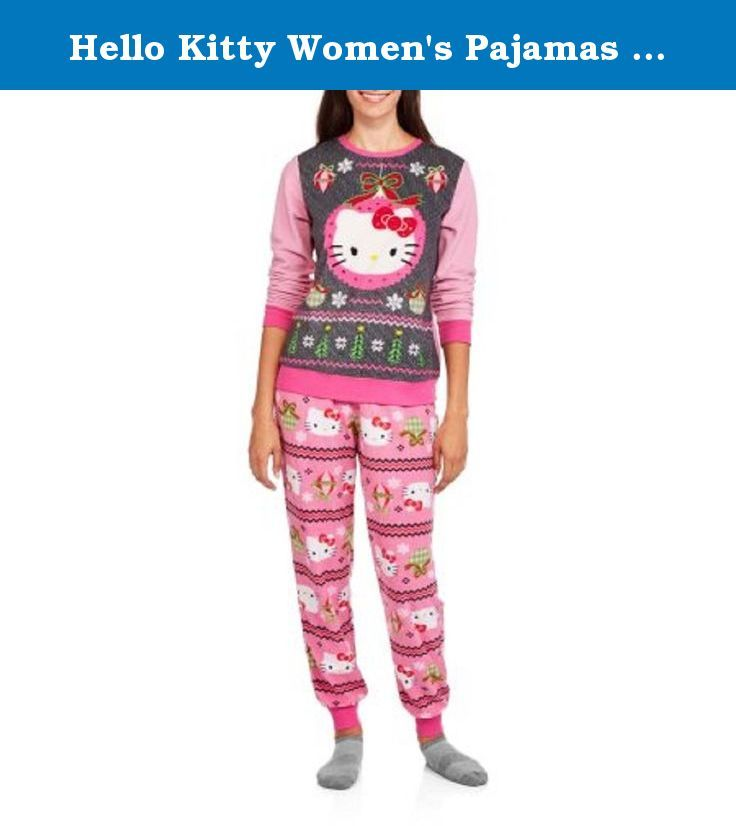 Hello Kitty Women's Pajamas (L 12/14, Black Soot). Hello Kitty Women's Pajamas . Celebrate the holiday season with this cute and cozy women's 2-piece pajama set based on the iconic and adorable cat Hello Kitty. Both an ugly Christmas sweater and a matching pair of pants are included in the set, and both are made of pillowy-soft micro fleece to keep you warm. The long-sleeve sweater has a large graphic on the front with Hello Kitty and sparkly sequin details, while the pants have a festive...