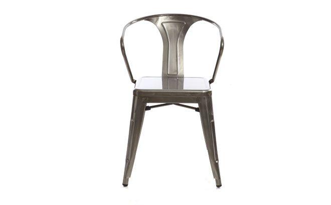 Lot de 2 chaises design industriel m tal inox factory ce for Chaise design industriel