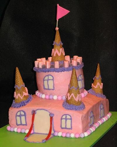 Terrilyn!!! look at this Castle cake! Looks like they used ice cream cones! too cool!