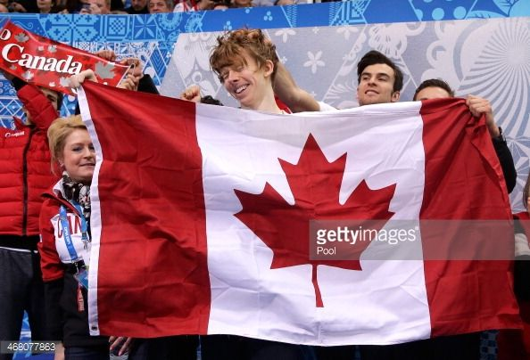 Kevin Reynolds of Canada reacts after competing in the Men's Figure Skating Men's Free Skate during day two of the Sochi 2014 Winter Olympics at Iceberg Skating Palace onon February 9, 2014 in Sochi,...