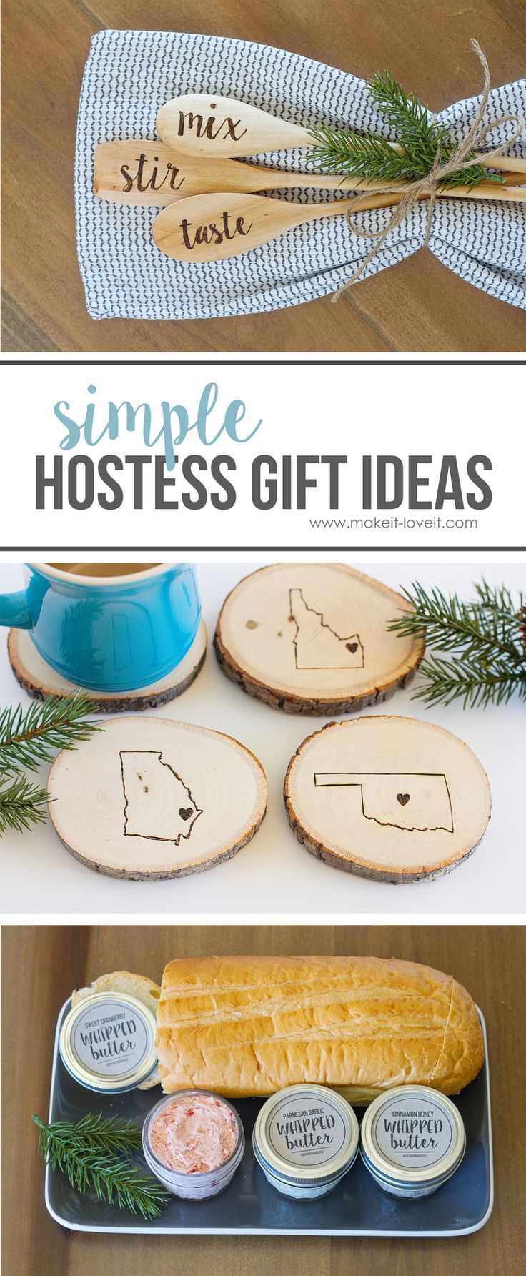 Simple DIY Hostess Gift Ideas...Flavored Whipped Butter, Engraved Home State Coasters, & Engraved Wooden Spoons | via Make It and Love It