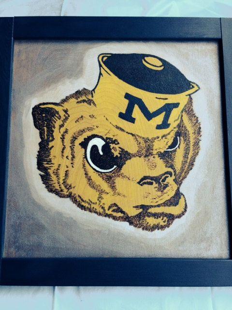 University of Michigan Wolverine mascot logo used by IconsInWood
