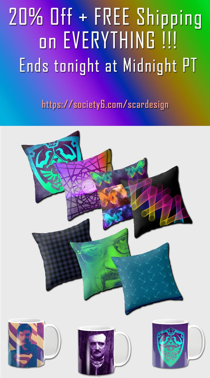 20% OFF EVERYTHING + FREE SHIPPING only Today!!! Get cozy with a cool coffee mug and a modern throw pillow by Scar Design. #PoeMug #Superhero #BreakingBad #LegendofZelda #anchors #beachhousegifts #cozy #coffeemug #mug #kidsmug #throwpillow #modernpillows #buypillows  #giftsforhim #gaming #gamer #games #gaminggifts #gamergifts #freeshipping #legendofzeldatshirt #discount #save #sales #homedecor #home #decor