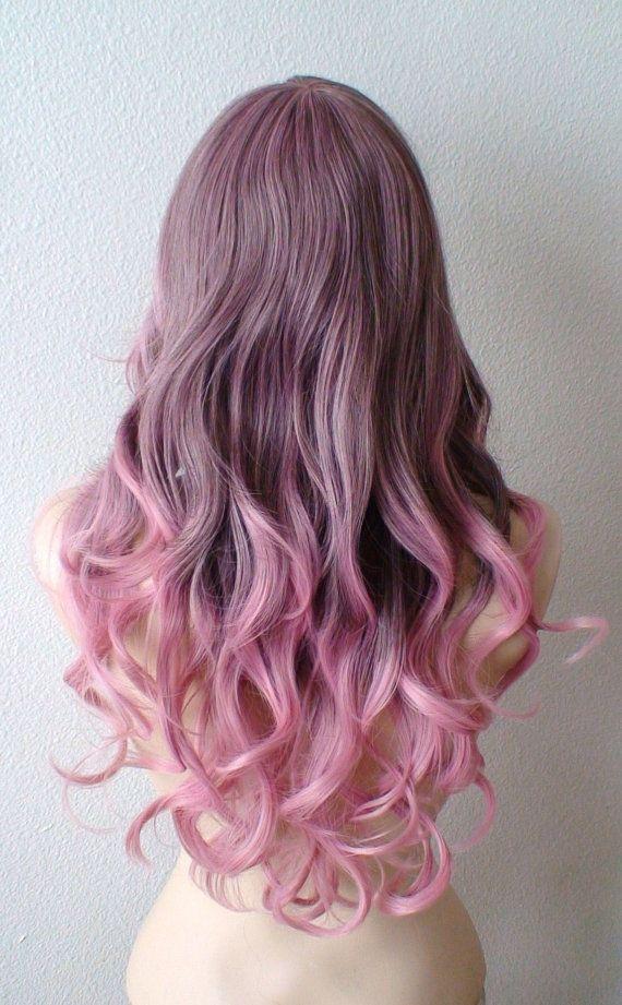 Brown / Pink Ombre wig. Pastel Pink wig. Light brown / by kekeshop