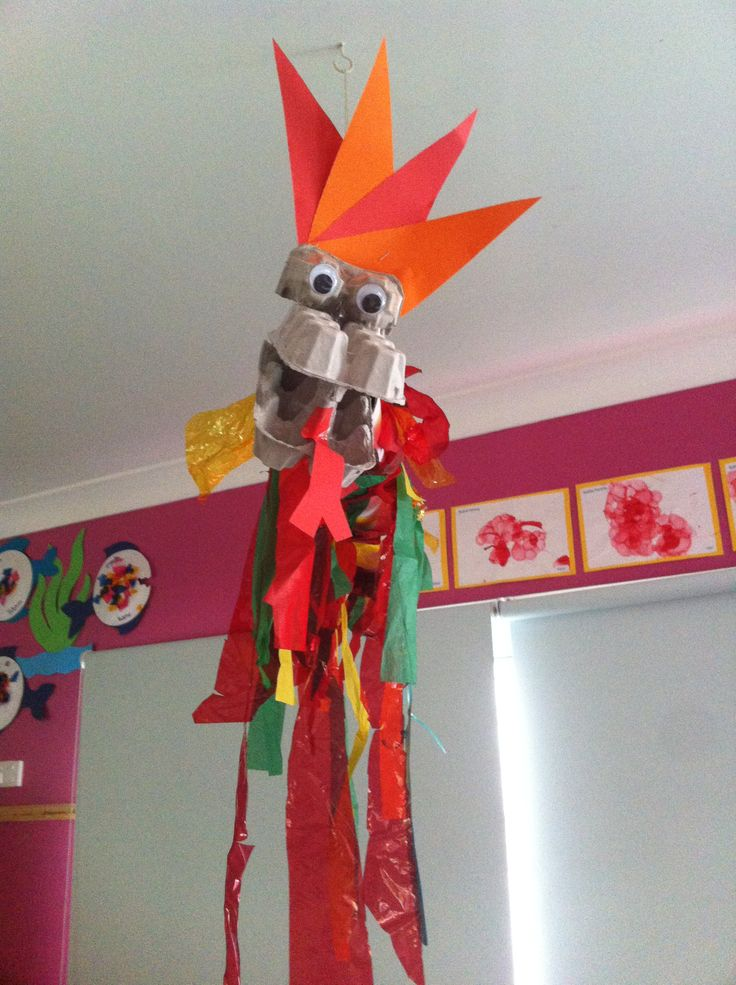 Chinese New Year dragon made out of an old mailing tube, egg carton and streamers.