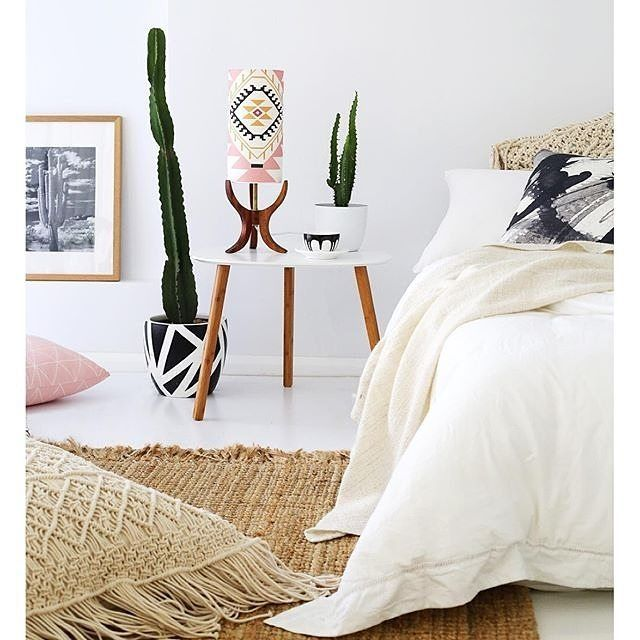 this picture from @villastyling. Our 'Dana' side table works so well in this space! #Regram #style #retro #cactus #boho #interiordesign